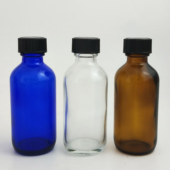 200 X 60ml 2oz Large Refillable Amber Cobalt Blue Clear Boston Round Glass Bottles with Black  Polyseal (Cone)Lined Closures