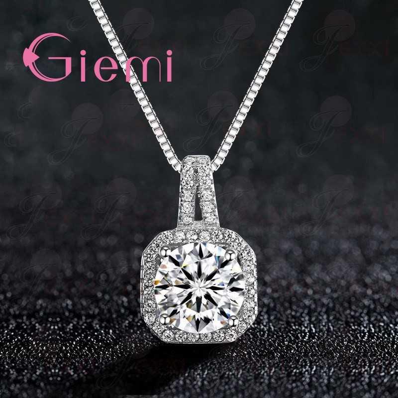 Luksusowe 5A klasy wisiorek z cyrkonią w kształcie kostki naszyjnik Shining czysta 925 Sterling Silver austriackie kryształowe Charms kobiety prezent biżuteria