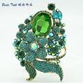 Оптовая Зеленый Лист Цветок Брошь Пен Горный Хрусталь Кристалл Броши Бижутерия 6409