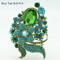 Wholesale Green Leaf Flower Brooch Pins Rhinestone Crystal Brooches Costume Jewelry 6409