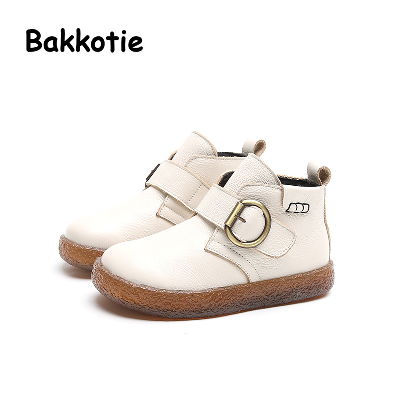 Bakkotie Autumn Fashion British Style Baby Girl Martin Boots Genuine Leather Child Boy Ankle Booties Kid Brand Toddler Shoe Soft bakkotie 2017 new autumn baby boy casual shoes khaki genuine leather black kid girl brand flat shoes soft sole breathable child