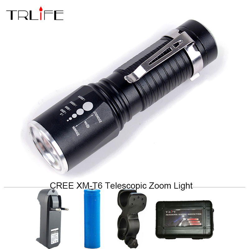 Portable CREE XML-T6 5 Modes Zoomable LED Flashlight Torch Aluminum Waterproof Led Light for 18650 /AAA Battery with Pen Clip 6000lumens bike bicycle light cree xml t6 led flashlight torch mount holder warning rear flash light
