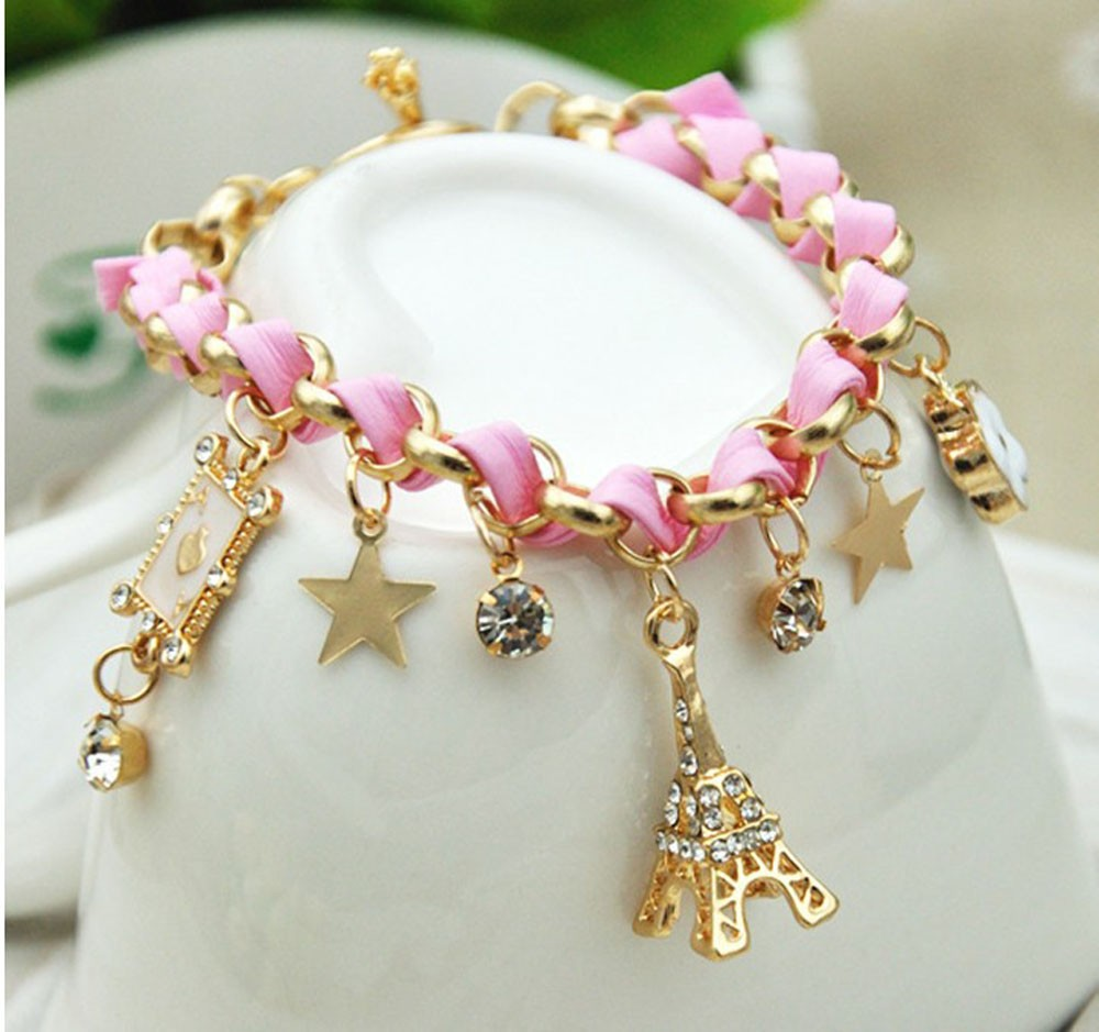 Vienkim New Hot sell  Fashion Jewelry Multielement Gold Chain Leather Rope Crystal Handmade Bracelet Eiffel Tower Star Pendant 12
