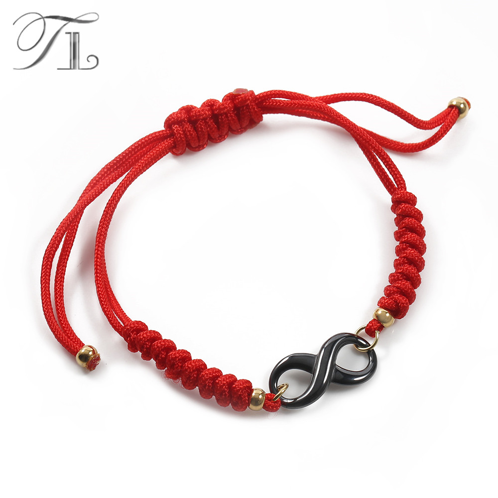 TL Black&White Infinite Symbol Ceramic Charm Bracelet New Fashion Chinese Style Handmade Braid Bracelets Red Bracelets For Women