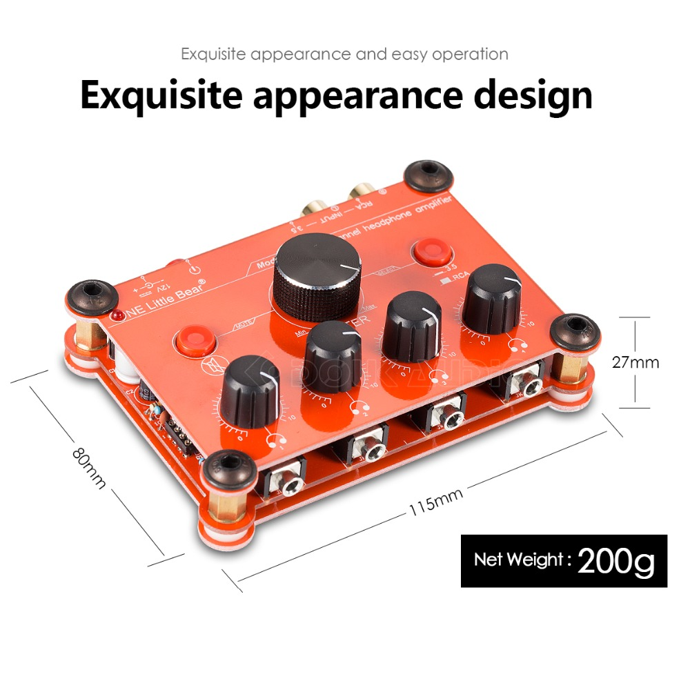 P14 Red Mini 4 Channel Stereo Headphone Amplifier Amp Splitter Circuit Design Studio In From Consumer Electronics On Alibaba Group