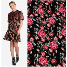 145cm new rose print fabric smooth handmade diy dress shirt material wholesale cloth