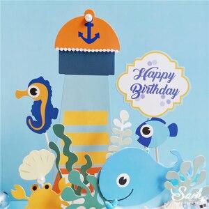 Image 3 - אוקיינוס בת ים אצות עוגת Toppers שמח יום הולדת כוכב ים קישוט לילדים של יום אפיית ספקי צד יפה מתנות