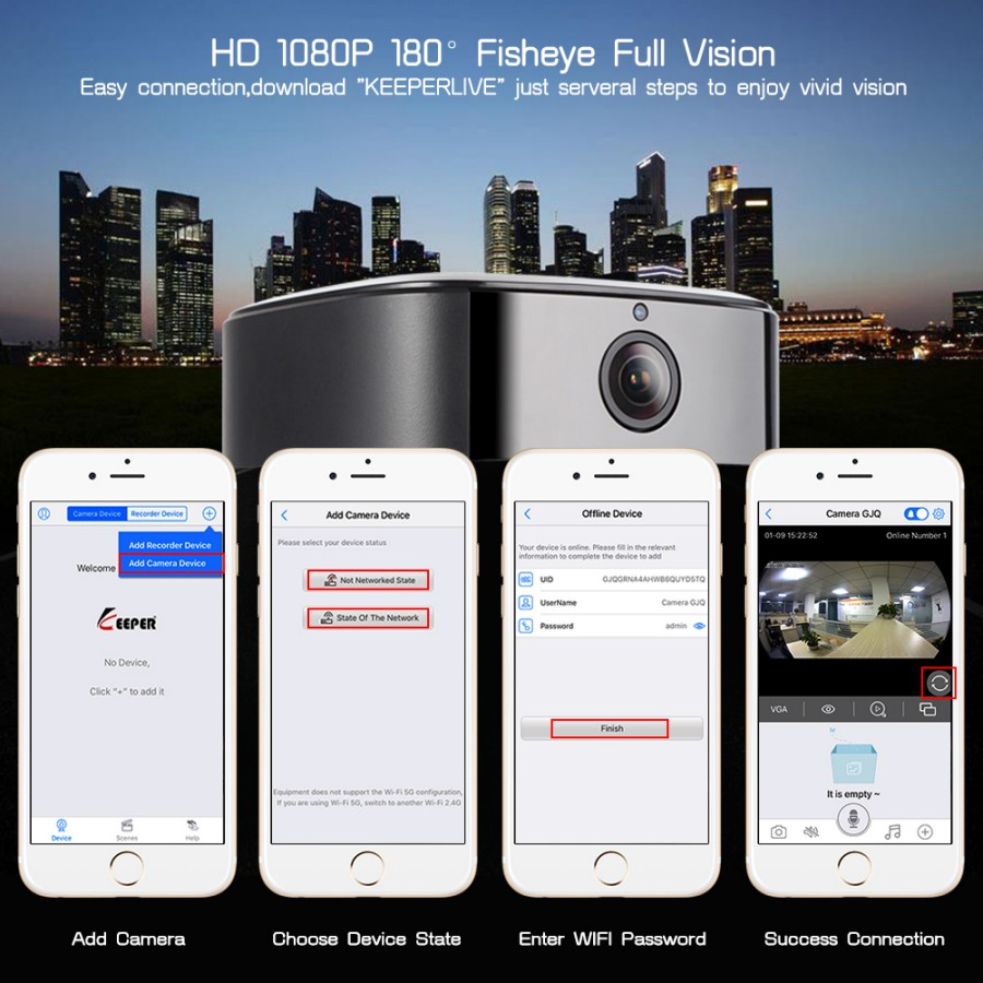 Panoramic 180Degree 1080P HD Wifi IP Camera Built-in Bluetooth4.2 2X5W Stereo Speaker Dual Card for Recording & Playing Free APP_F2