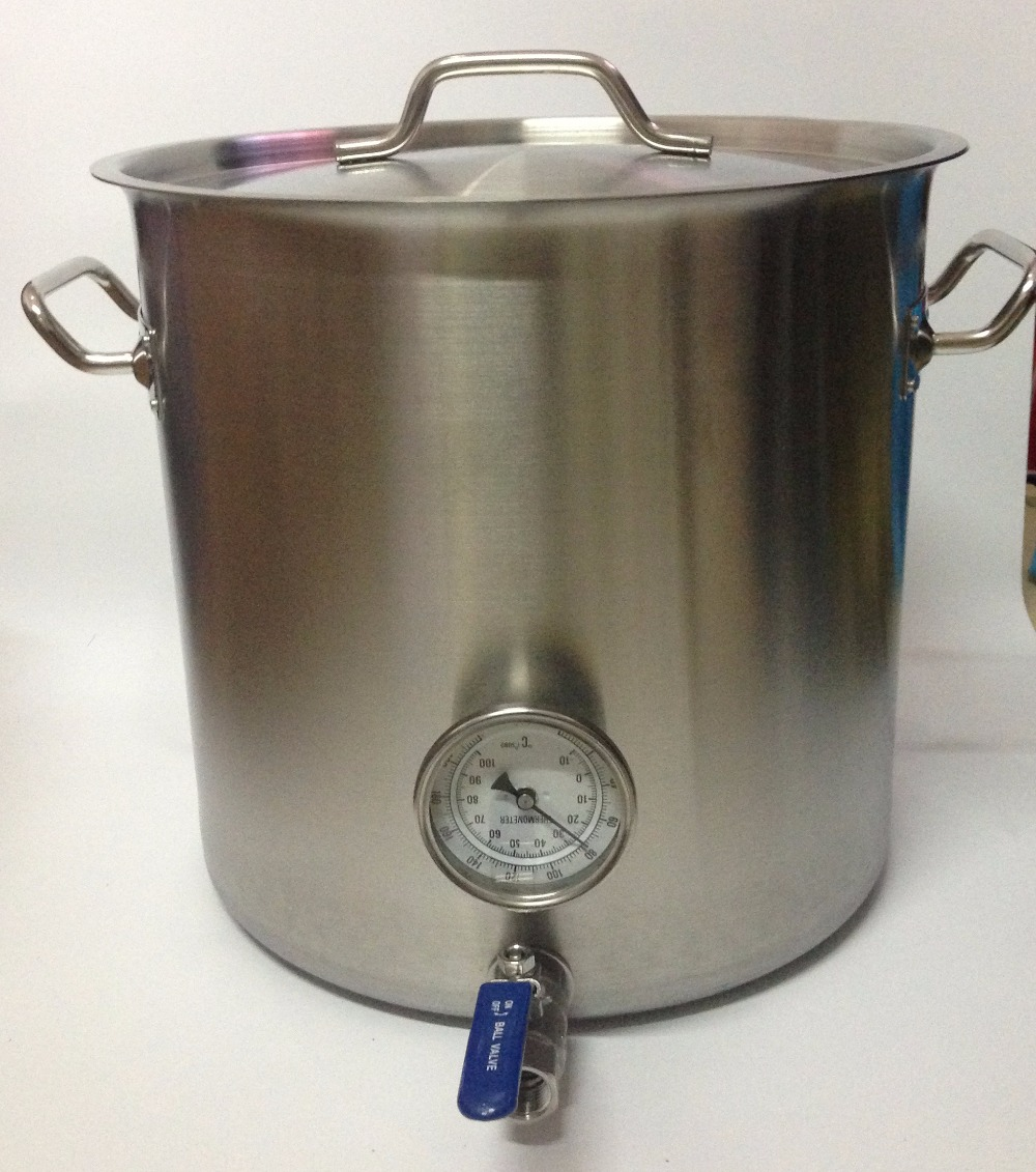 stainless steel pot brew valve kettle duty heavy thermometer homebrew necessory fittings