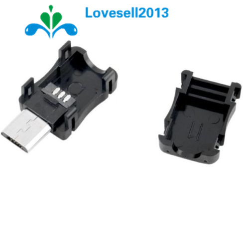 10Pcs/Lot 5 Pin T Port Male Micro USB Plug Socket Connector With Plastic Cover For DIY