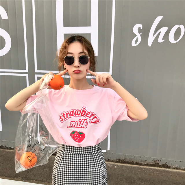 85bd0443bb5 Harajuku Kawaii Loose Strawberry Milk T Shirt Tops Women Summer Korean  Fashion Ulzzang Tshirt Schoolgirl Streetwear