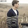 AK CLUB Marca Cardigan Gradiente de Rayas Azul Marino chaqueta de Punto Clásico Diseño 100% de Algodón para Hombres Casual Cardigan 2017 Primavera 1618001
