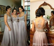Hot Sale 2016 Silver Chiffon Lace Long Bridesmaid Dresses A Line Sweetheart Floor Length Cheap Party Dresses Vestido De Festa C3