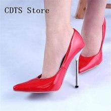 CDTSบวก: 35-44ออกแบบใหม่Crossdresser 13เซนติเมตรโลหะบางเดียวสุภาพสตรีผู้หญิงรองเท้าแหลมนิ้วเท้า หัวเข็มขัดพรรคปั๊ม