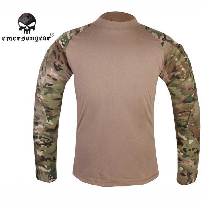 ФОТО EMERSON Men Combat Shirt Military Army Airsoft Tactical Long Sleeves T Shirt Camouflage Hunting Windproof Clothing EM8517