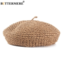 BUTTERMERE 2019 Summer Hats For Woman Straw Berets Female Camel Solid French Artist Hat Ladies Casual Spring Holiday Caps