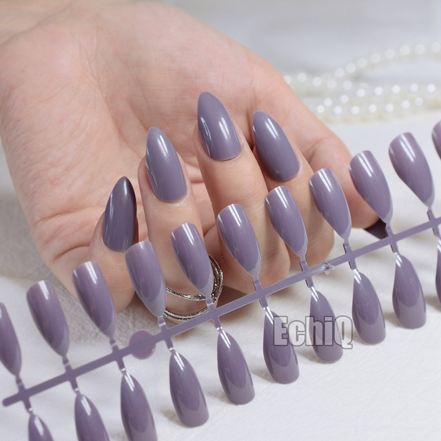 New Full Cover Purplish Grey False Nails Stiletto Sexy Gray Acrylic Nail Tips Artificial Pointed Fake Fuax Ongles