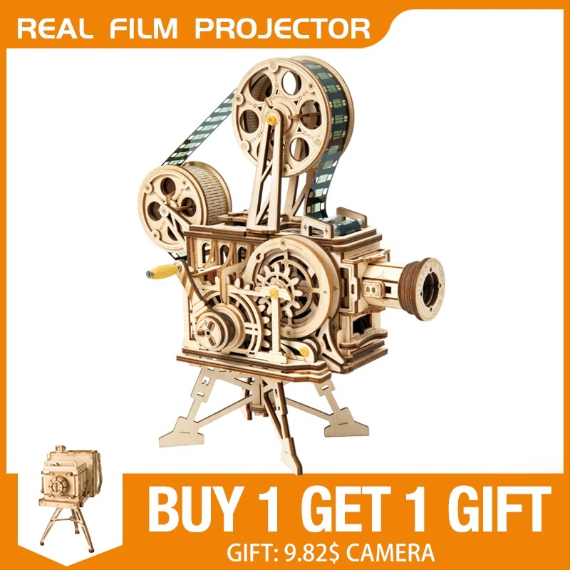 Robud DIY Real Film Projector Wooden Model Building Kits 3D Wooden Puzzle Gift Toys for Children