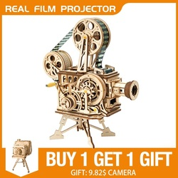 Robud DIY Real Film Projector Wooden Model Building Kits 3D Wooden Puzzle  Gift Toys for Children LK601 Factory Direct Sales