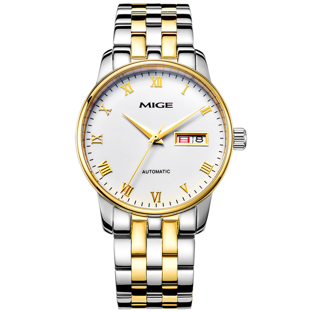 Mige 2017 Top Brand Luxury Hot Sale Automatic Mens Watch Skeleton Steel Gold Case White Dial Waterproof Man Mechanical Watches