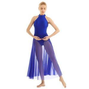 Image 5 - Women Adult Ballet Dance Dress Contemporary Modern Leotard Ballet Bodysuit with Mesh Skirt Mock Neck Ballet Leotards for Women