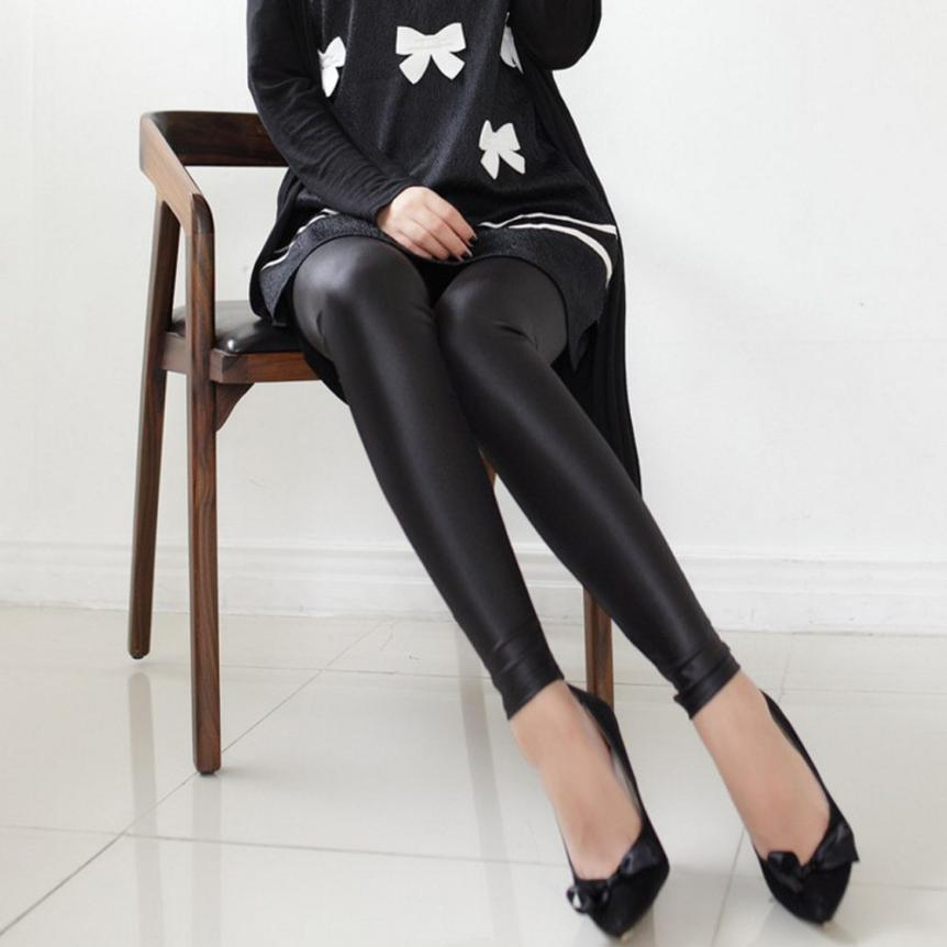 Women imitation leather bottoming feet autumn and winter pants large size tight leather pants thin section