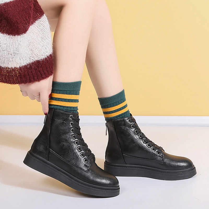 COOTELILI Moda düz ayakkabı Kadın Deri Çizmeler Platformu Lace up Kadın Ayakkabı yarım çizmeler Kızlar 35-40