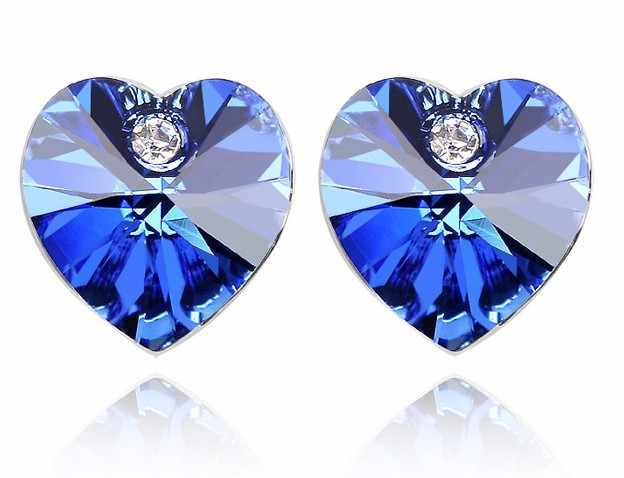 Asutrian Crystal Heart Earrings Fashion Jewelry party girl Free drop Shipping Wholesale wedding simple charms women top quality