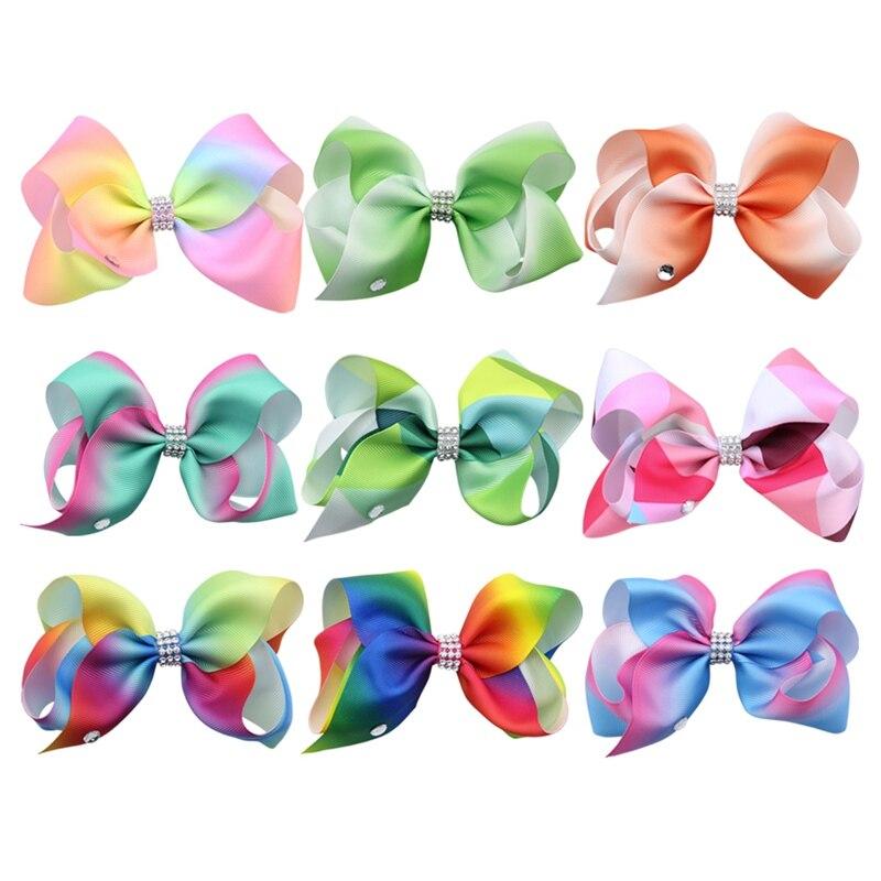 9Pcs/Lot Rainbow Bow Hair Clips Girls Hair Accessories Women Hairbow Clips Fashion Headwear For Children Drop Shipping