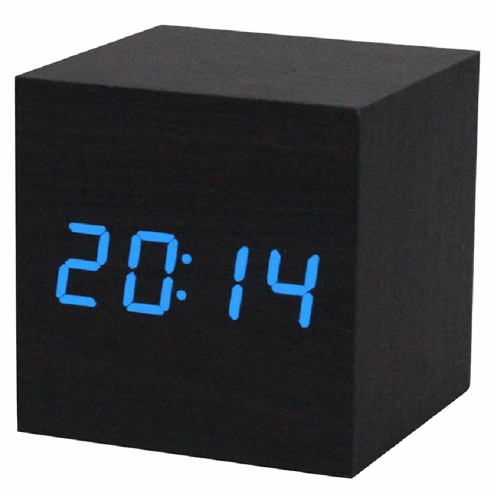 Alarm clock / digital clock Wooden table with a USB port, works with AAA batteries Black