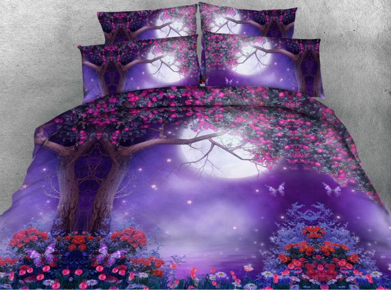 Jf064 Fancy Wonderland Flowers And Tree Print 5pcs Queen Size Bed