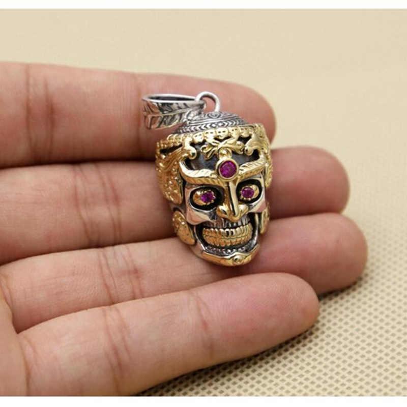 Punk พระพุทธรูป skull ฝัง zircon สร้อยคอสร้อยคอสร้อยคอ 100% เงินแท้ 925 สร้อยคอจี้สำหรับผู้ชายผู้หญิงเครื่องประดับ G6