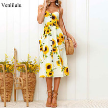 2019 Summer Sunflower Dress Women Party Dress Plus Size Flower Beach Dress Female Floral Backless Midi Striped Dress Ladies 3XL