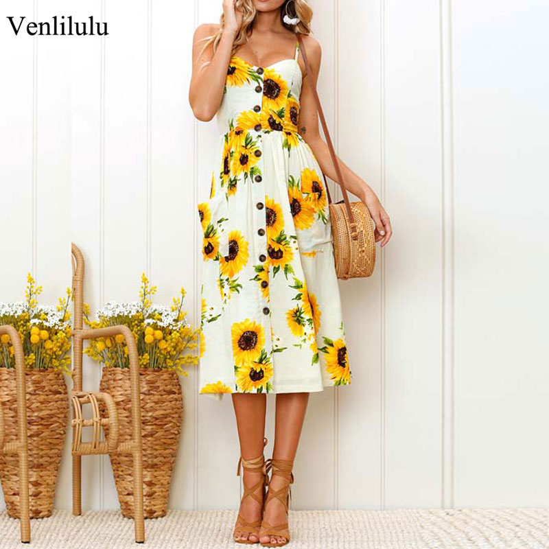 Summer <font><b>Sunflower</b></font> <font><b>Dress</b></font> Women Plus Size Slip Holiday Floral Print <font><b>Dress</b></font> Midi Flower Elegant Casual Sundresses XXL XXXL <font><b>Yellow</b></font> image