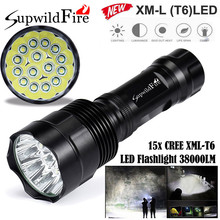 Super Bright 38000Lm 15x XM-L T6 LED 5-Mode 26650 Flashlight Torch Light Lamp Outdoor Cycling Accessories High Quality May 2