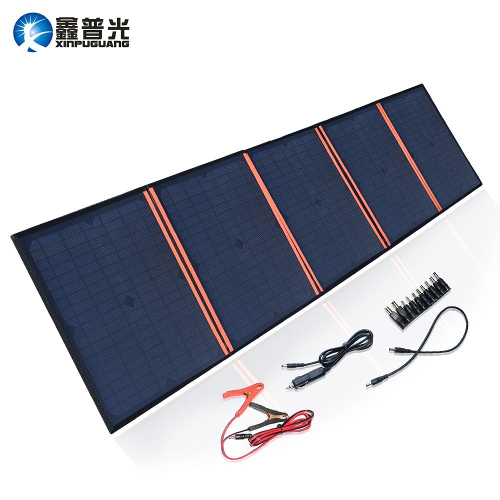 Xinpuguang Caricatore del Pannello Solare 100 W 9 V 18 V Pieghevole Portatile Nero Impermeabile In Tessuto Accumulatori e caricabatterie di riserva Del Telefono 12 V Batteria dual USB 5 V 2A
