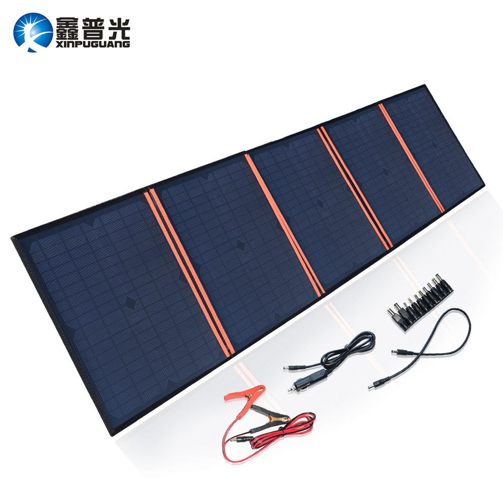 Xinpuguang Solar Panel Charger 100W 9V 18V Foldable Portable Black Fabric Waterproof Power Bank Phone 12V Battery Dual USB 5V 2A
