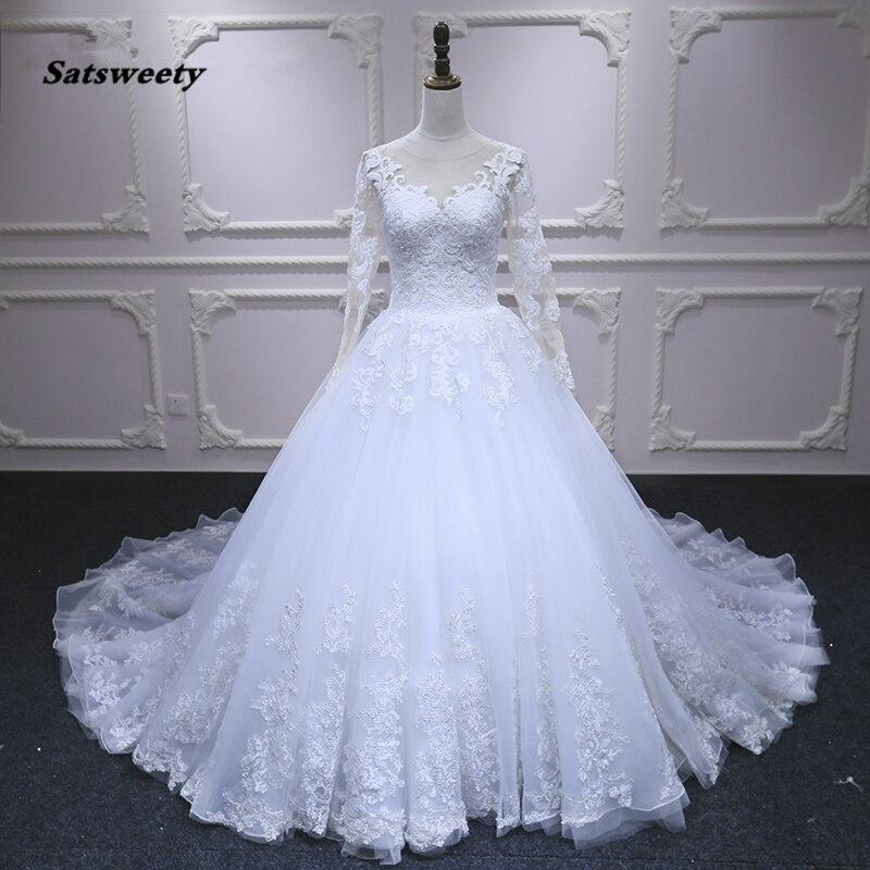 Satsweety Long Sleeve Wedding Dresses Vestido De Noiva Lace Bridal Dress Gown Custom Made White Ivory Wedding Dress