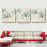 Large 3 pieces modern art gray flower picture for modern wall art painting print on canvas