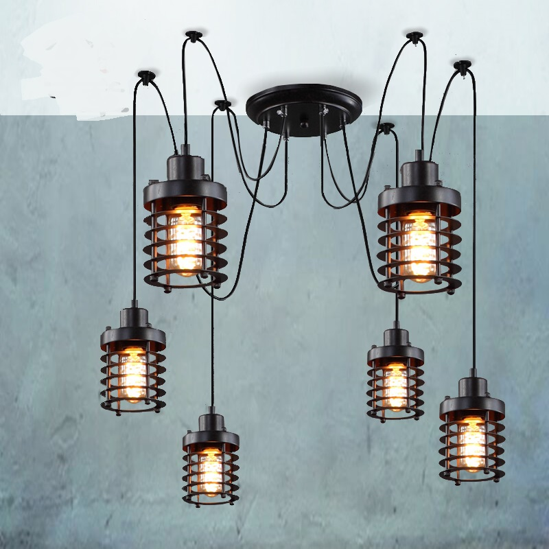 Vintage industrial wind pendant light Retro creative restaurant bar cafe conspersa iron lamp pulley pendant lamps ZX191 new loft vintage iron pendant light industrial lighting glass guard design bar cafe restaurant cage pendant lamp hanging lights