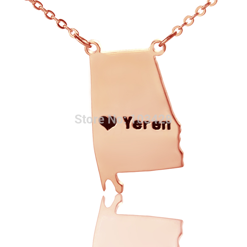 Custom Alabama State Necklaces DIY State Charm Map Necklace Rose Gold Color Engraved Black Name State Necklaces With Heart
