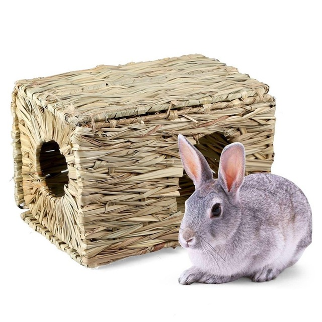 Handcraft Woven Grass Hamster Nest Small Pet Rabbit Hamster Cage House Chew Toys Foldable Pig Rat Hedgehogs Chinchilla Bed 1