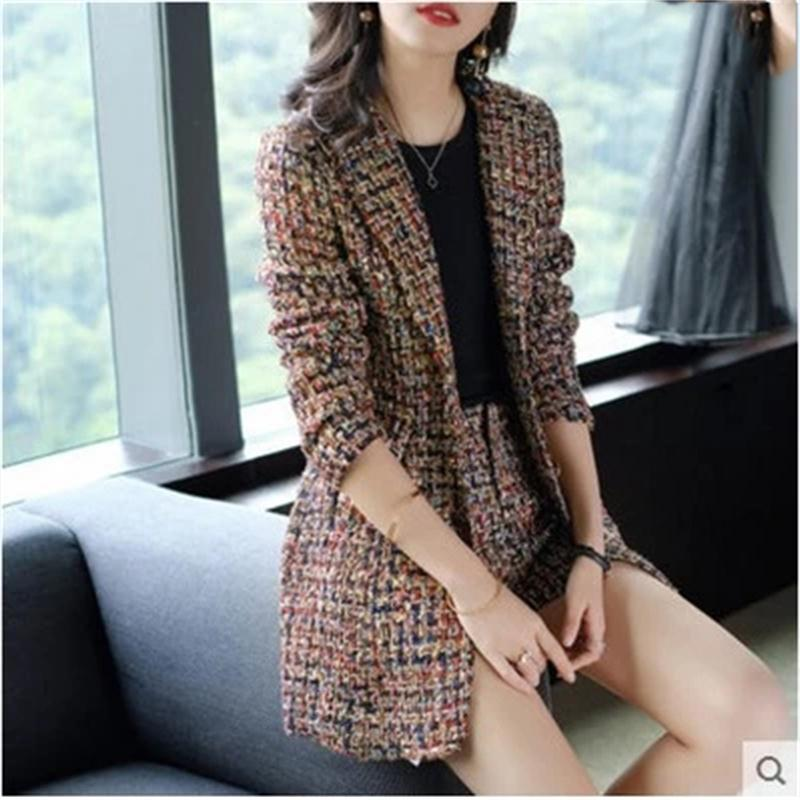 Women s Plaid business suit fashion suit female career suit jacket and long sections temperament casual