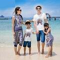 2015 семья одежда отец и сын костюмы семья смотри мама дочь соответствующие соответствия одежды семьи mae filha