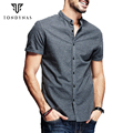 Человек тонкий хлопок рубашки, мужчины с коротким рукавом мандарин воротник тонкий рубашки 5859