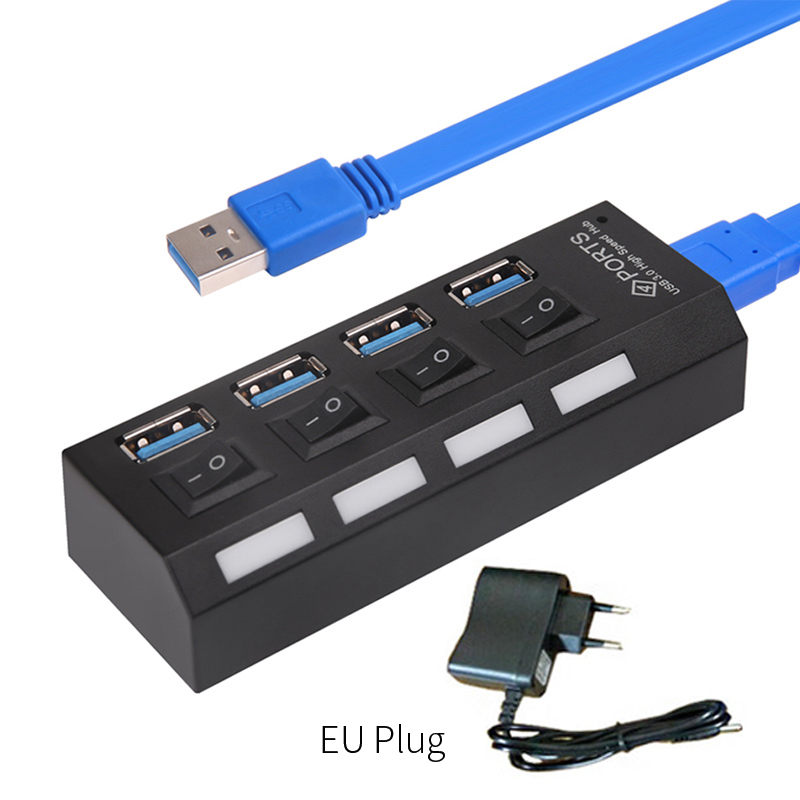 4 Port Multi HUB Splitter Expansion Cable Laptop PC Adapter With Switch USB 3.0