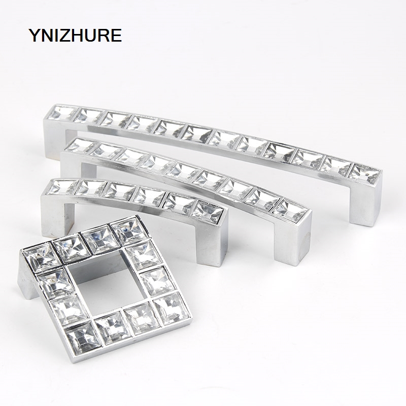 Real Kitchen Handles Puxadores Hole Pitch 32/64/96/128mm Transparent Acrylic Handle Drawer Knob Furniture Pulls Cabinet