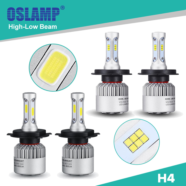 Oslamp Hi-Lo Beam H4 LED Car Headlight COB/CSP Chips 6500K 2WD 4WD Led Auto Head Light Bulbs with Built-in Fan for SUV 2pcs 9003