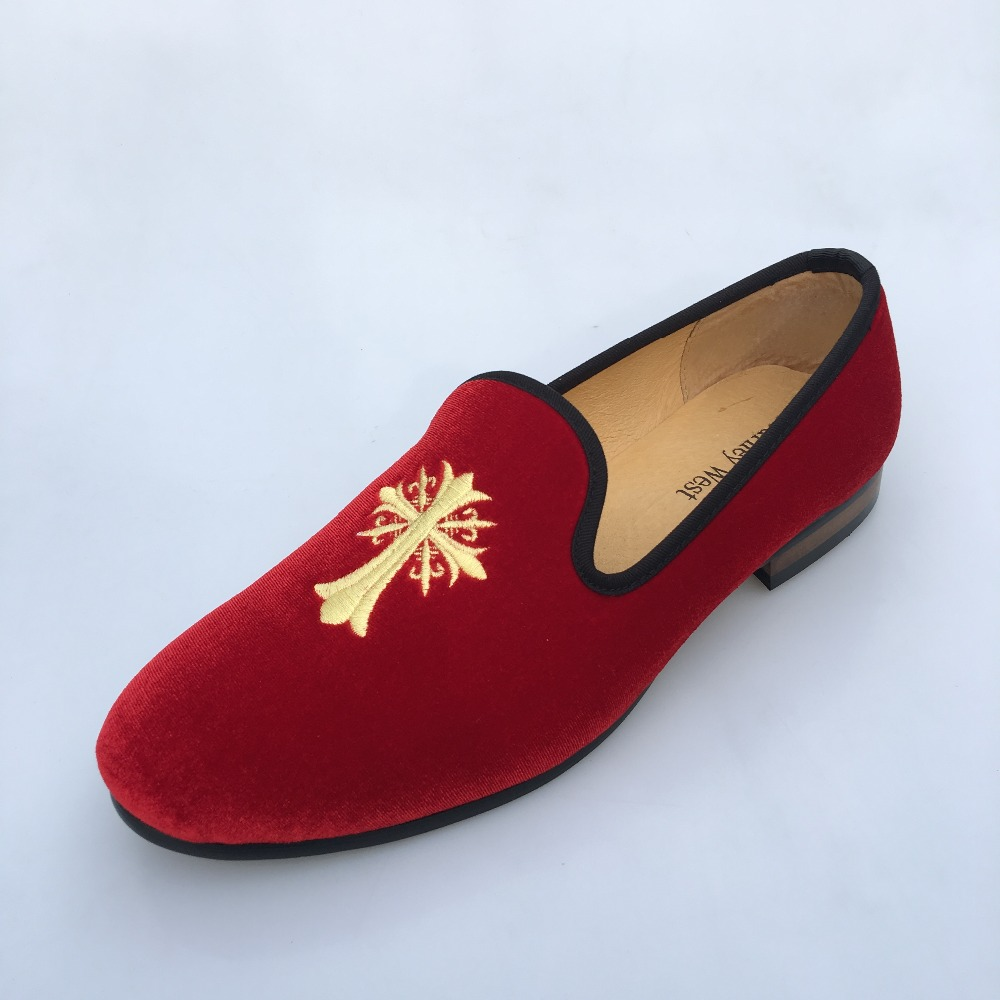 ФОТО New Vintage Mens Red Velvet Loafers Dress Shoes Slip-On Wedding and Party Slippers loafers Casual Men's Flats Plus Size US 9-13