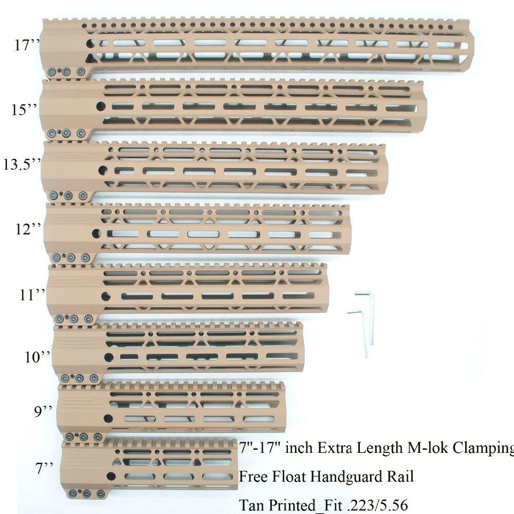 AR15 Tan Printed 7'' 9'' 10'' 11'' 12'' 13.5'' 15'' Inch M-lok Clamping Handguard Rail Fit . 223/5.56